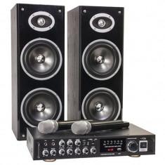 Set karaoke amplificator, 2 difuzoare coloana cu 2 cai 200 W, microfoane wireless