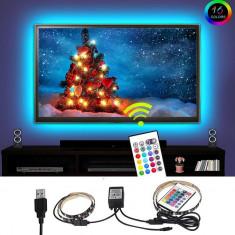 Kit Banda LED SMART2 pentru Iluminare Ambientala Multicolor RGB in Spatele Televizorului Backlight TV cu Telecomanda