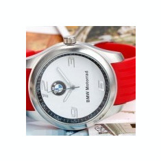 BMW Ceas Model BMW curea silicon cadran alb curea rosie MOTORRAD