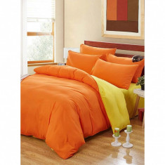 Lenjerie de pat pentru o persoana cu husa de perna dreptunghiulara, Watford, bumbac satinat, gramaj tesatura 120 g mp, Portocaliu