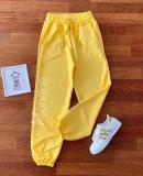 Pantaloni dama lungi galbeni cu elastic si buzunare