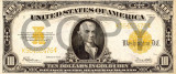 10 dolari 1922 Reproducere Bancnota USD , Dimensiune reala 1:1
