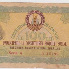 CUPON 100 LEI/PARTICIPARE LA CONSTITUIREA FONDULUI SOCIAL