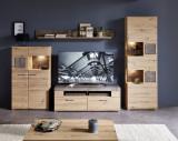 Set de mobila living din pal si MDF, 4 piese Skylar Stejar