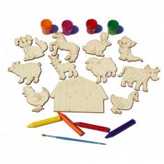 Set 11 figurine din Lemn pentru Colorat - Animale de Ferma