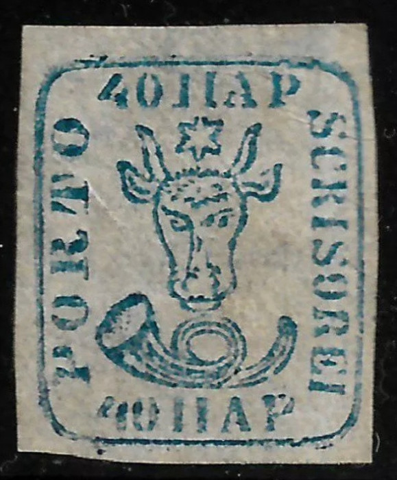 MOLDOVA 1858 CAP DE BOUR 40 PAR. ALBASTRU, HARTIE ALBA. MI 6ay.