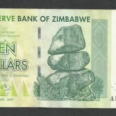 ZIMBABWE  10  DOLARI   DOLLARS  2007   [2]  P-67  ,  XF