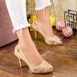 Pantofi cu toc dama bej MDL00858