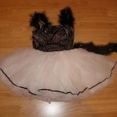 costum carnaval serbare rochie dans pisica pentru copii de 4-5-6 ani