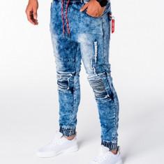 Blugi pentru barbati albastru cu siret rosu model genunchi elastici slim fit P676