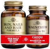 Solgar Pachet Skin Nails and Hair Formula 60 tablete + Magnesium cu B6 100 tablete GRATIS