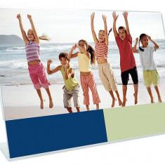 Rama foto plexiglas, format A4, landscape, suport de birou tip L transparent