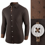 Camasa pentru barbati maro inchis regular fit bumbac casual Business Class Ultra