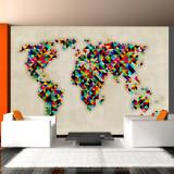 Fototapet vlies - World Map - a kaleidoscope of colors - 350 x 270 cm, Artgeist