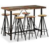 Set mobilier de bar, 7 piese, lemn masiv reciclat