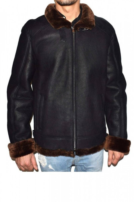 Cojoc barbati, din blana naturala, marca Kurban, Pilot675-01-95, negru