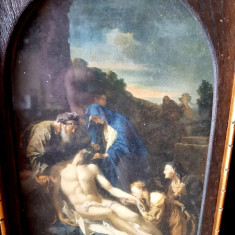 Michelangelo reproducere litografie sec xx rama tablou vechi scena religioasa