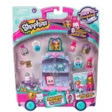 Set 8 figurine Shopkins Purple, mini dulciuri asortate si carucior, 5 ani+