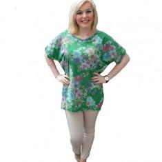 Bluza tip tunica, de culoare verde inchis, cu model de flori