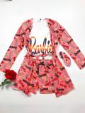 Set pijama dama 3 piese alcatuit din maieu + pantaloni scurti + halat roz cu imprimeu BR
