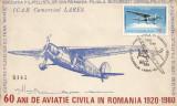 60 de ani de aviaţie civilă în România, plic, Bucureşti, 1980