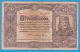 (8) BANCNOTA UNGARIA - 50 KORONA 1920 (1 IANUARIE1920) SERIA 5a003/818538