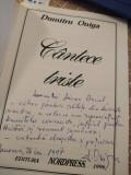 Cantece triste - Dumitru Oniga (detinut politic; carte cu autograf)