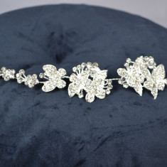 Diadema Argintiu, model Fluturasi cu pietre