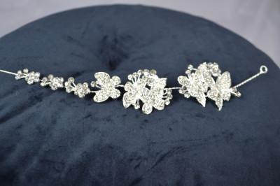 Diadema Argintiu, model Fluturasi cu pietre foto