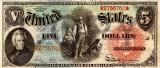 5 dolari 1869 Reproducere Bancnota USD , Dimensiune reala 1:1