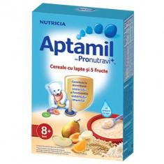 Cereale Aptamil Nutricia cu lapte si 5 fructe, 225g