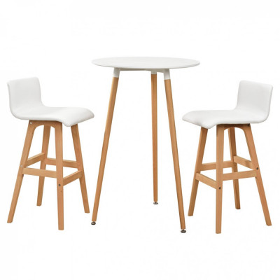 [en.casa]® Masa bar rotunda - design retro - cu 2 scaune - alb foto