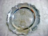 233- Tava rotunda veche stil Rococo cu margini ondulate metal cromat.