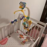 Patut bebe Baby Needs Jas + saltea 12 cm+ husa impermeabila + carusel muzical, 120x60cm, Alb, BabyNeeds