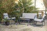 Cumpara ieftin Set mobilier gradina / terasa Ferni Gri deschis / Antracit, 2 fotolii + canapea 2 locuri + masa de cafea