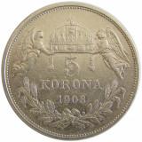 u033 UNGARIA 5 KORONA COROANE 1908 ARGINT VF
