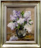 Pictură `Liliac în vază de sticlă`