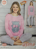 Cumpara ieftin Pijama dama cu maneca lunga si pantaloni lungi '' Bear'' cod 822