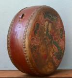 Toba veche realizata si pictata manual  China cu doua fete instrument percutie