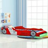 VidaXL Pat pentru copii mașină de curse, cu LED, 90 x 200 cm, roșu