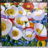 109 Tablou cu peisaj, pictura cu maci rosii albi, pictura cu peisaj de primavara