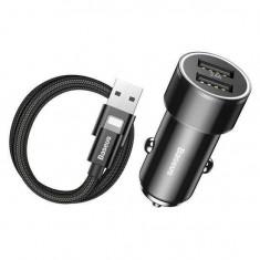 Incarcator auto 2x USB Baseus Small Screw 34 A Cablu Lightning Baseus Negru