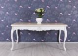 Masa din lemn masiv alb cu blat maro CAT175
