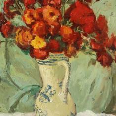 "Tablou pictura Stavru Tarasov - ""Flori"" ulei pe carton"
