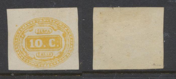ITALIA 1863 timbru porto 10 centisimi neuzat, gumat, cota Michel 2000 euro