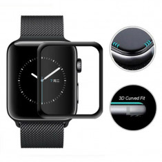 Folie de protectie 3D pentru Apple Watch, sticla securizata, negru