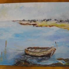 La malul marii 1-pictura ulei e placaj, Natura, Altul