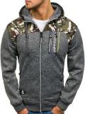 Cumpara ieftin Bluză pentru bărbat cu glugă și fermoar camuflaj-grafit Bolf HH515