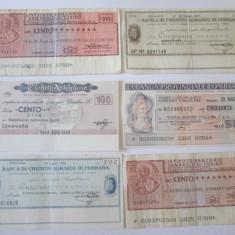 Lot 6 bilete de banca/cecuri italiene