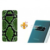 Husă Snake Skin pentru Samsung Galaxy S10 Plus, TPU, Verde + Folie de sticlă 9H pentru cameră Digitech Glass